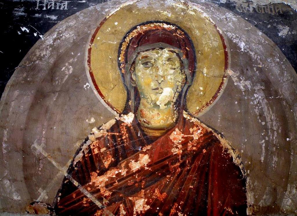 Святая Преподобномученица Евгения Римская. Фреска церкви Святого Иоанна Предтечи в Кастории, Греция. XVIII век.