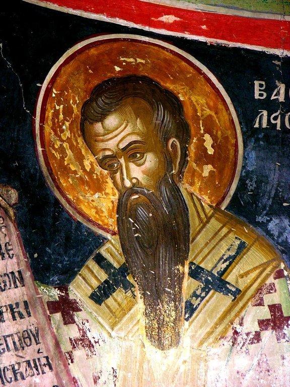 Святитель Василий Великий. Фреска монастыря Русану в Метеорах, Греция. XVI век.