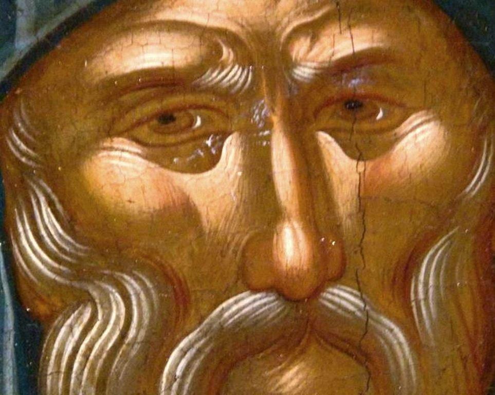 Святой Преподобный Антоний Великий. Фрагмент иконы критской школы XVI века. Иконописец Михаил Дамаскин.