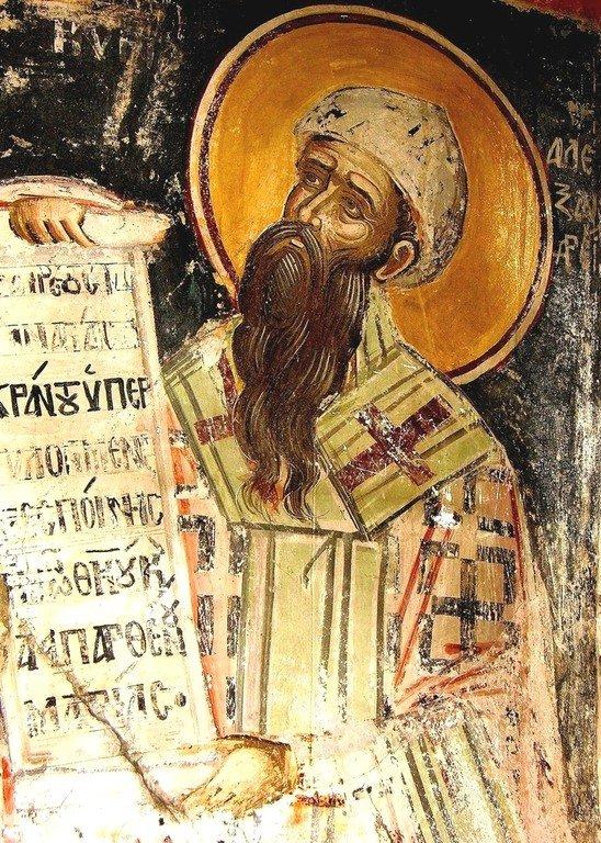 Святитель Кирилл, Архиепископ Александрийский. Фреска монастыря Русану в Метеорах, Греция. XVI век.