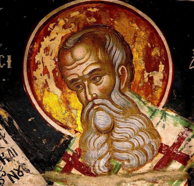 Святитель Афанасий Великий, Архиепископ Александрийский. Фреска монастыря Русану в Метеорах, Греция. XVI век.