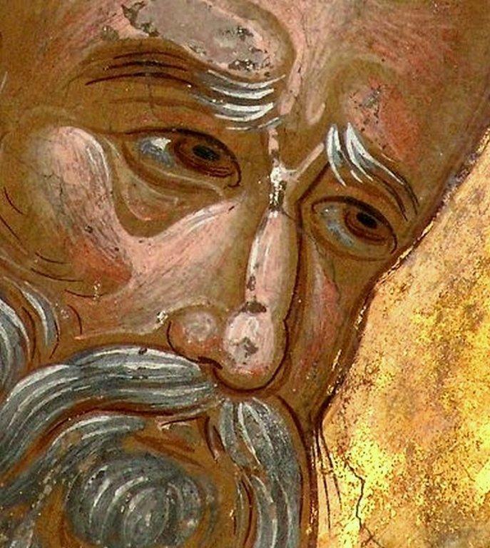 Святитель Григорий Богослов. Фреска монастыря Варлаама в Метеорах, Греция. XVI век. Иконописец Франко Кателано.