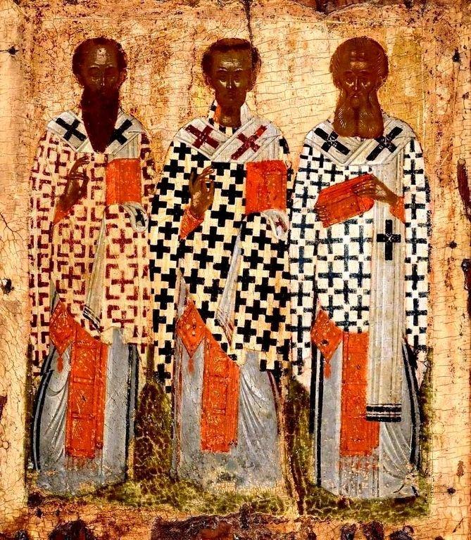 Собор трёх Вселенских учителей и Святителей: Василия Великого, Григория Богослова и Иоанна Златоустого. Греческая икона.