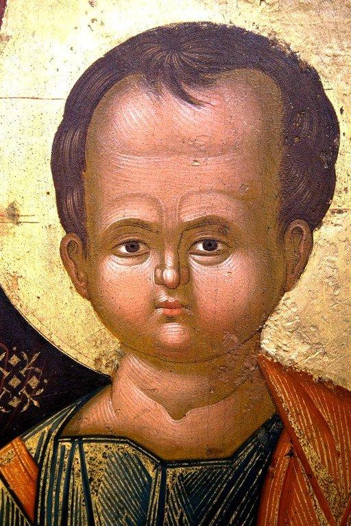 Богоматерь Одигитрия. Греческая икона. Византийский музей в Кастории, Греция. Фрагмент.