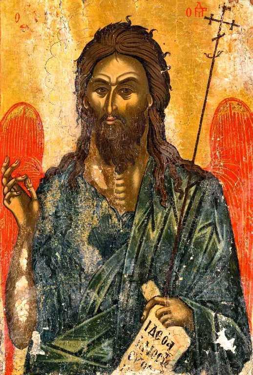 Святой Иоанн Предтеча Ангел пустыни. Икона. Греция, около 1500 года.На этой иконе Святой Иоанн Предтеча изображён с Ангельскими крыльями как великий подвижник и пустынножитель, своим житием уподобившийся Ангелам.