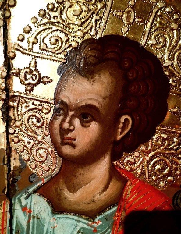 Пресвятая Богородица с Младенцем на троне. Греческая икона. Византийский музей в Верии, Греция. Фрагмент.