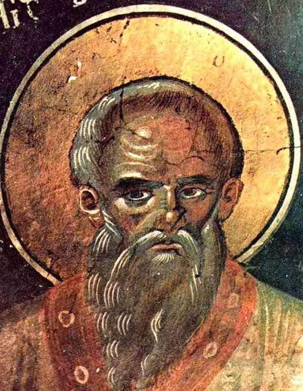 Святой Преподобный Симеон Новый Богослов. Греческая фреска XVII века.
