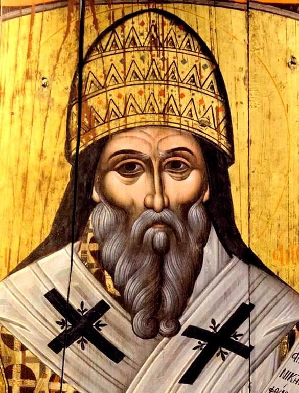 Святитель Григорий Двоеслов, Папа Римский. Старинная греческая икона. Фрагмент.