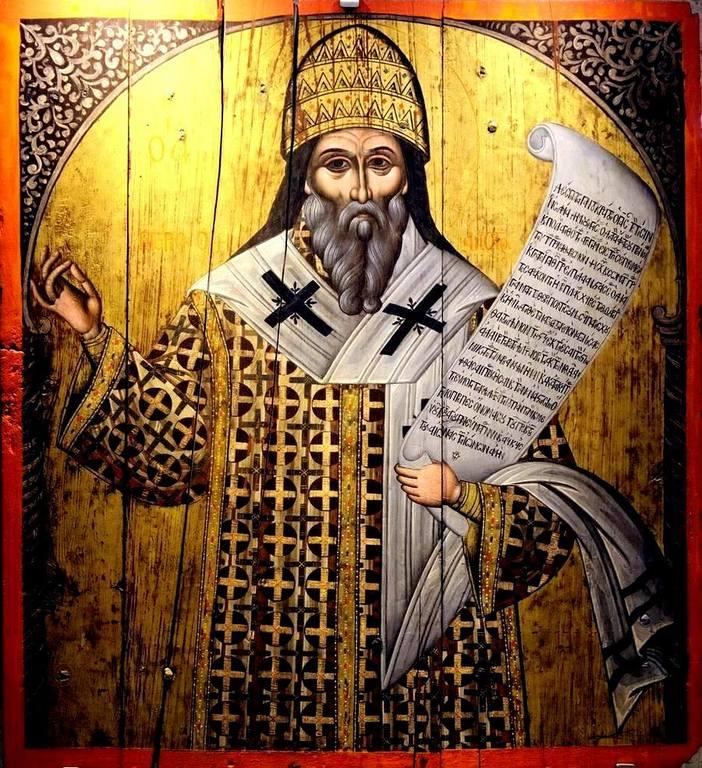 Святитель Григорий Двоеслов, Папа Римский. Старинная греческая икона.