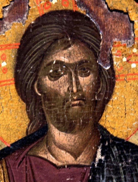 Христос Пантократор. Икона. Византийский музей в Верии, Греция. Фрагмент.