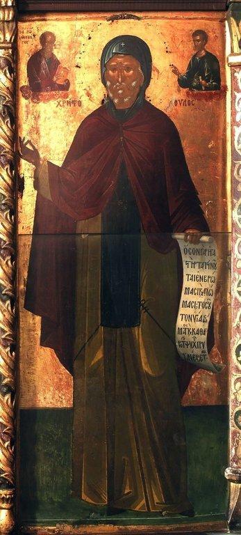 Святой Преподобный Христодул Патмосский, Чудотворец. Икона над ракой с мощами Преподобного в монастыре Святого Иоанна Богослова на острове Патмос, Греция.