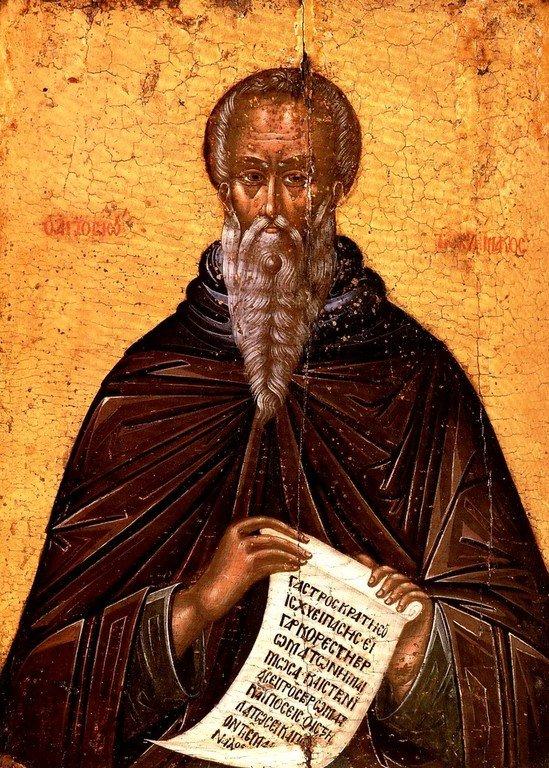 Святой Преподобный Иоанн Лествичник. Икона в монастыре Дионисиат на Афоне.