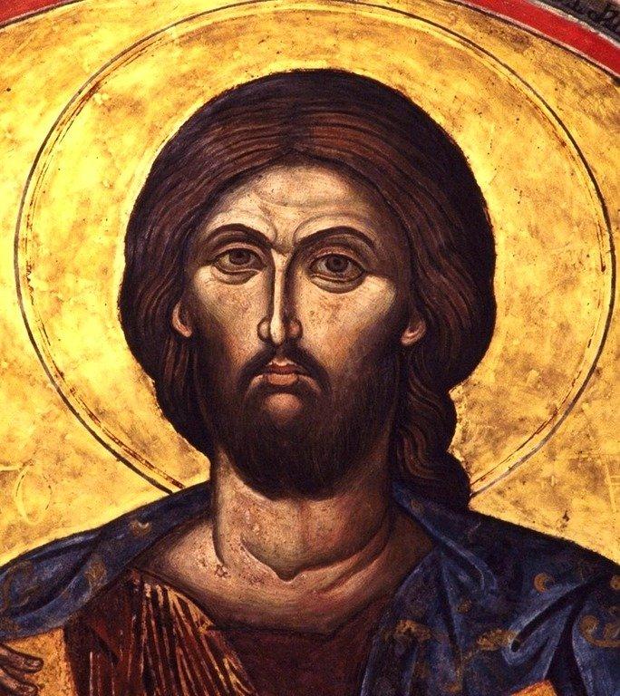 Христос Пантократор. Фреска монастыря Святого Иоанна Богослова на острове Патмос, Греция. Лик Спасителя.