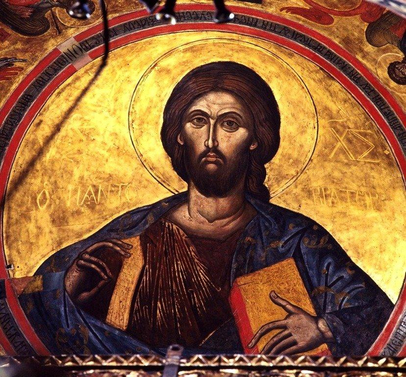 Христос Пантократор. Фреска монастыря Святого Иоанна Богослова на острове Патмос, Греция.
