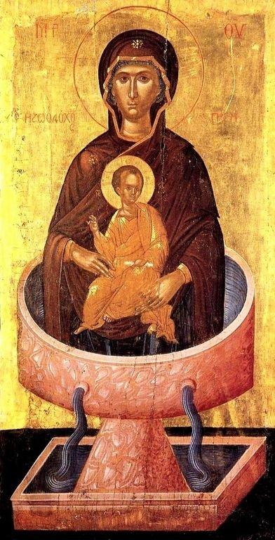 """Икона Божией Матери """"Живоносный Источник"""". Критская школа иконописи."""