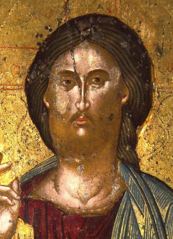 Христос на троне. Греческая икона. Церковь Святой Феодоры в Арте, Греция. Лик Спасителя.