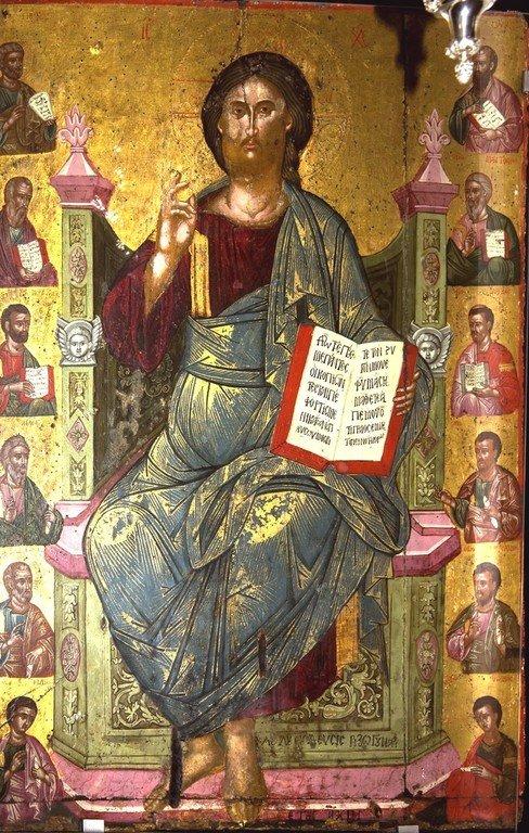 Христос на троне. Греческая икона. Церковь Святой Феодоры в Арте, Греция.