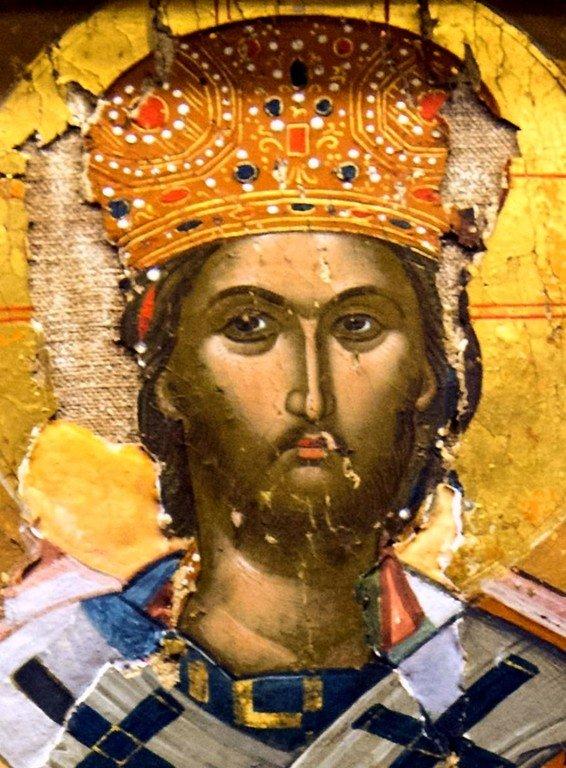 Христос Великий Архиерей. Греческая икона. Монастырь Великий Метеор в Метеорах, Греция. Лик Спасителя.