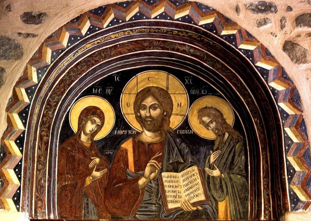 Деисис. Фреска монастыря Варлаама в Метеорах, Греция.