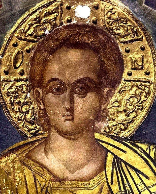 Христос Эммануил. Фреска монастыря Варлаама в Метеорах, Греция. XVI век. Иконописец Франко Кателано.