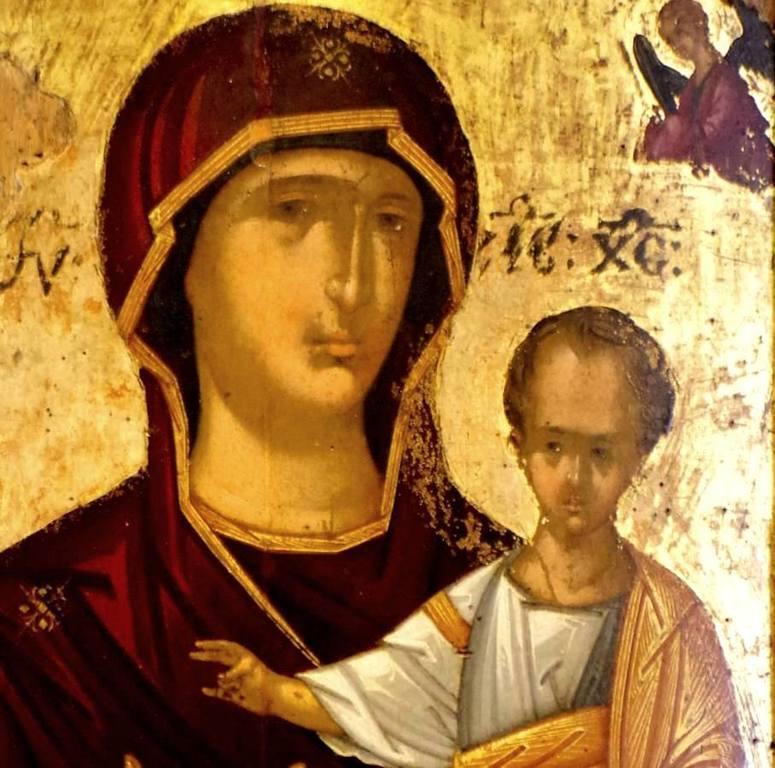 Богоматерь Одигитрия. Старинная греческая икона. Фрагмент.