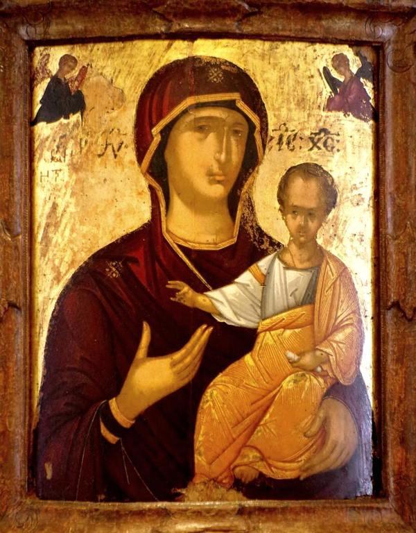 Богоматерь Одигитрия. Старинная греческая икона.