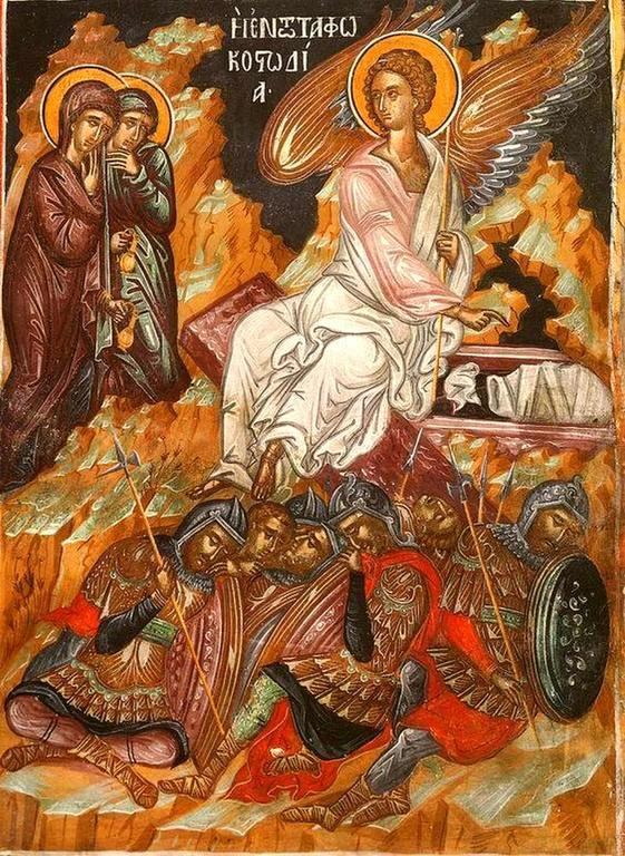 Жены-Мироносицы у Гроба Господня. Греческая фреска.