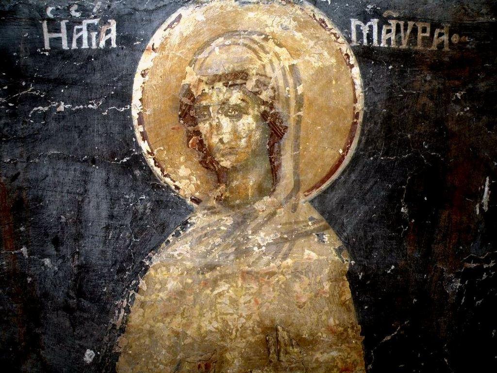 Святая Мученица Мавра. Фреска церкви Святого Иоанна Предтечи в Кастории, Греция. XVIII век.