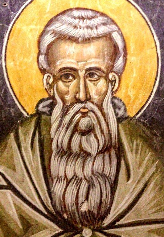 Святой Преподобный Арсений Великий. Фреска церкви Преображения Господня в Палехори на Кипре. 1610 - 1620-е годы.