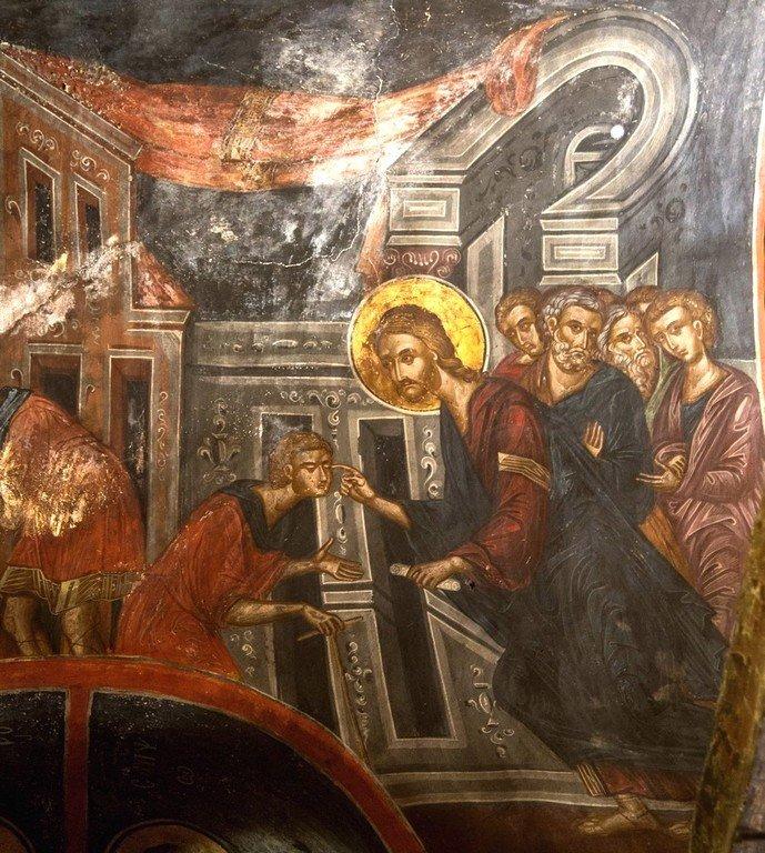 Господь Иисус Христос исцеляет слепорождённого. Фреска монастыря Варлаама в Метеорах, Греция. XVI век. Иконописец Франко Кателано.