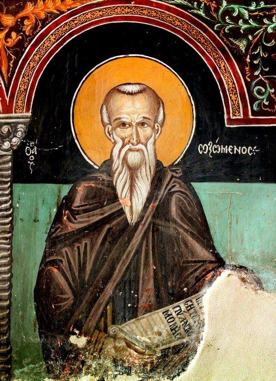 Святой Преподобный Созомен Кипрский. Фреска церкви Архангела Михаила и Божией Матери в Галате, Кипр. 1514 год.