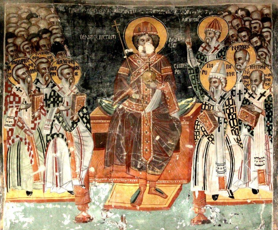 Первый Вселенский Собор. Фреска церкви Святого Созомена в Галате на Кипре.