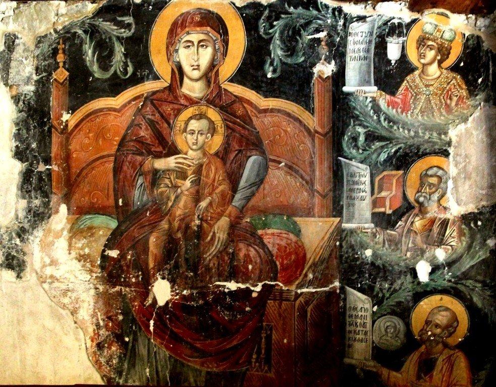 Пресвятая Богородица с Младенцем и Пророками. Фреска церкви Панагии Хрисокурдальотиссы в Курдали, Кипр.