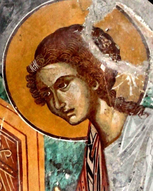 Пресвятая Богородица с Младенцем и предстоящими Архангелами. Фреска церкви Панагии Хрисокурдальотиссы в Курдали, Кипр. Фрагмент.