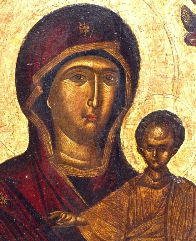 Богоматерь Одигитрия. Старинная греческая икона. Лики.