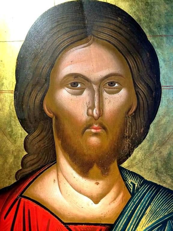 Лик Спасителя. Фрагмент старинной греческой иконы. Византийский музей в Кастории, Греция.