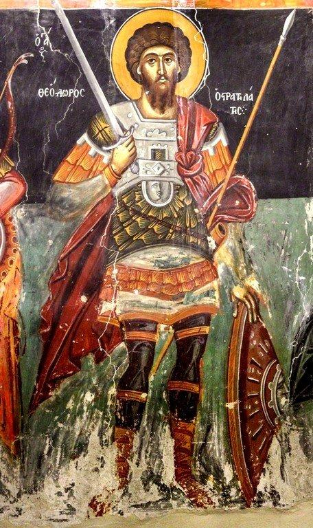 Святой Великомученик Феодор Стратилат. Фреска церкви Преображения Господня в Палехори на Кипре. 1610 - 1620-е годы.