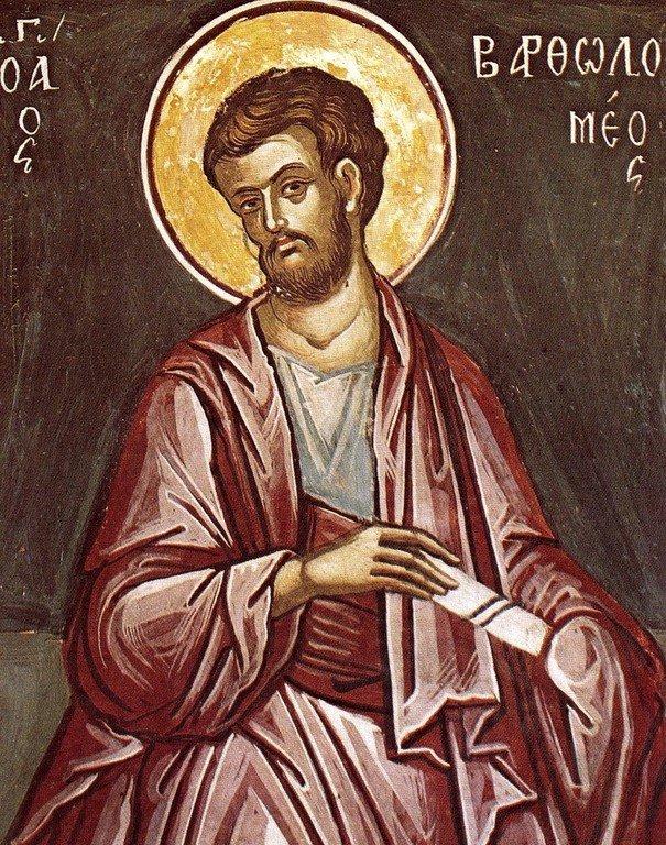 Святой Апостол Варфоломей. Фреска монастыря Ставроникита на Афоне. 1546 год. Иконописец Феофан Критский.