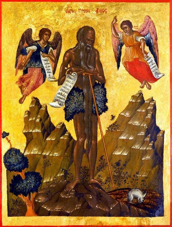 Святой Преподобный Онуфрий Великий. Икона критской школы XVII века.