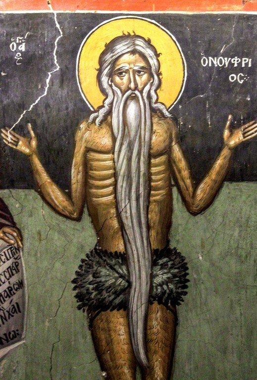 Святой Преподобный Онуфрий Великий. Фреска церкви Преображения Господня в Палехори на Кипре. 1610 - 1620-е годы.