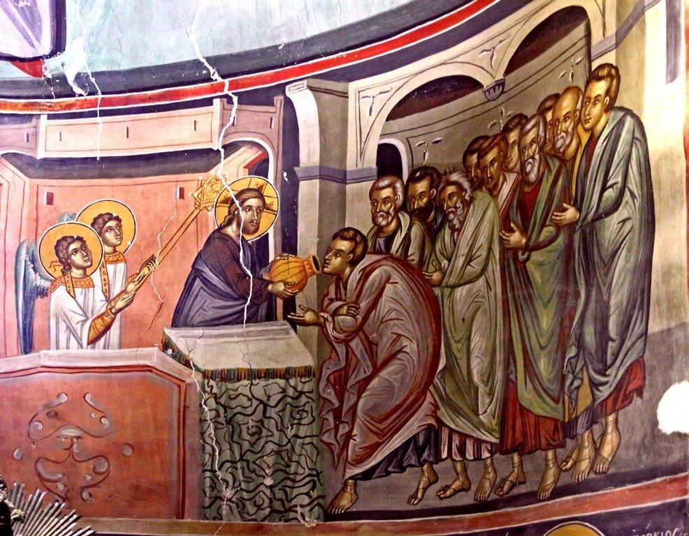 Евхаристия (Причащение Апостолов). Фреска церкви Преображения Господня в Палехори на Кипре. 1610 - 1620-е годы. Фрагмент.
