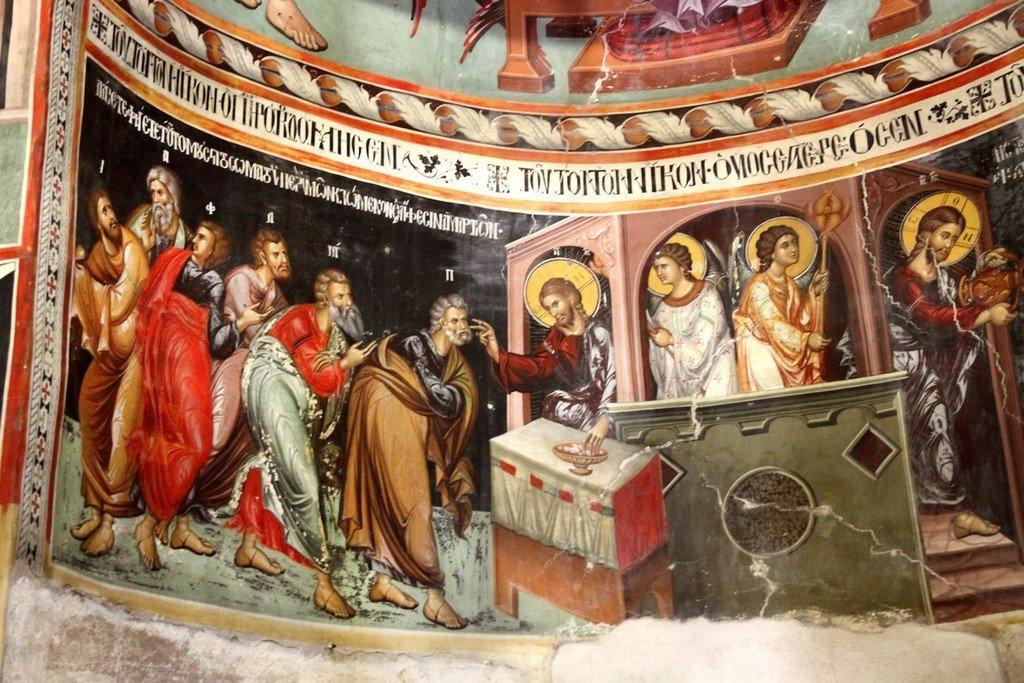 Евхаристия (Причащение Апостолов). Фреска церкви Панагии Подиту в Галате на Кипре. Около 1500 года. Фрагмент.