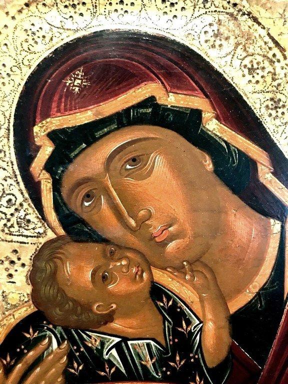 Богоматерь Гликофилуса. Икона. Крит, XV век. Лики.