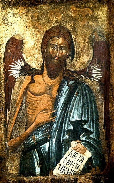 Святой Иоанн Предтеча Ангел пустыни. Икона в Византийском музее в Верии, Греция. Святой Иоанн Креститель изображён с Ангельскими крыльями как великий подвижник и пустынножитель, своим житием уподобившийся Ангелам.