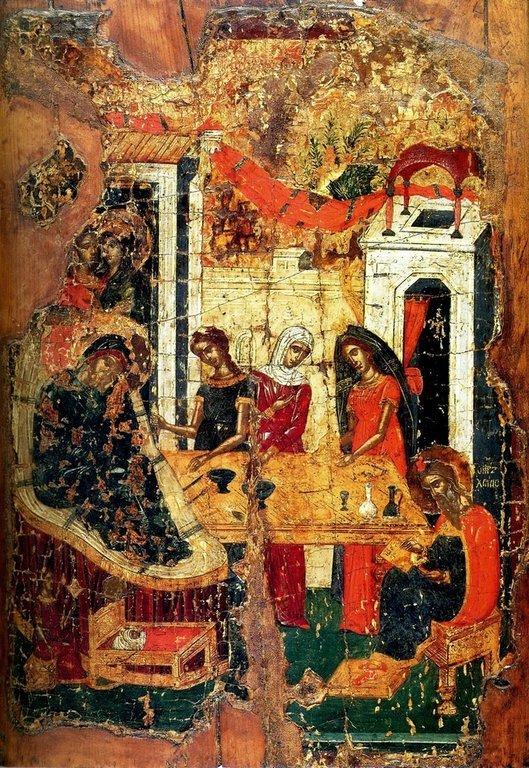 Рождество Святого Иоанна Предтечи. Икона. Крит, начало XVI века.
