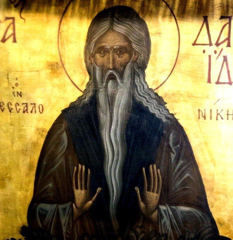 Святой Преподобный Давид Солунский. Икона в церкви Святого Давида монастыря Латому в Салониках, Греция.