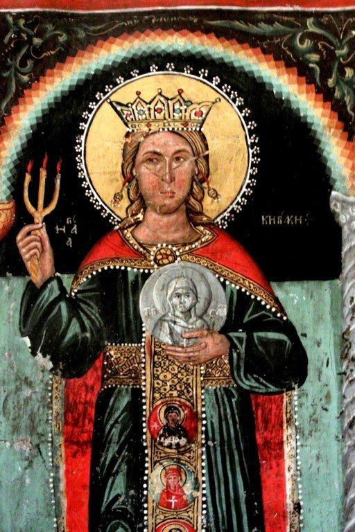 Святая Мученица Кириакия Никомидийская. Фреска церкви Святого Созомена в Галате на Кипре.