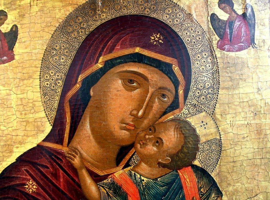 Богоматерь Елеуса. Икона. Крит, XVI век. Фрагмент.