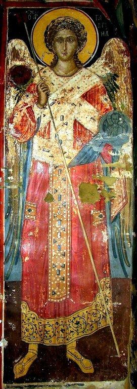 Архангел Гавриил. Фреска монастыря Святого Николая Анапавсаса в Метеорах, Греция. 1527 год. Иконописец Феофан Критский.