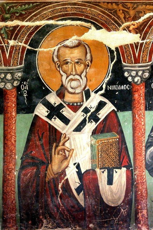 Святитель Николай, Архиепископ Мир Ликийских, Чудотворец. Фреска церкви Архангела Михаила и Божией Матери в Галате, Кипр. 1514 год.